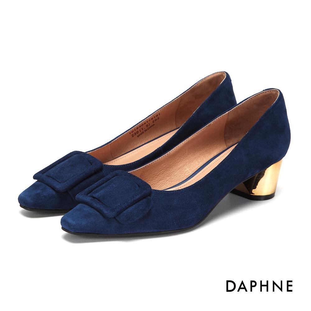 達芙妮DAPHNE 高跟鞋-絨布皮帶方釦真皮內裡高跟鞋-深藍