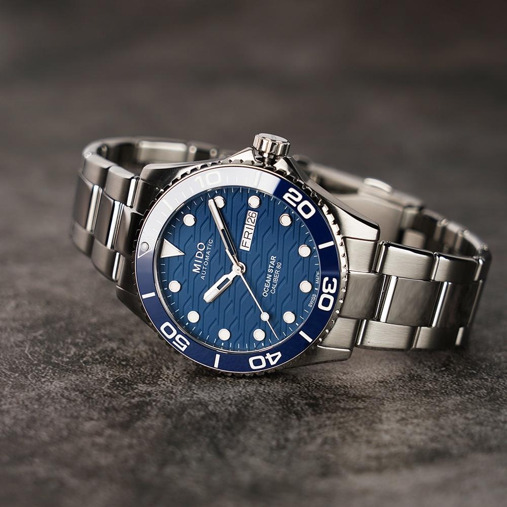 MIDO 美度 Ocean Star 200C 海洋之星陶瓷潛水錶-藍/42.5mm M0424301104100