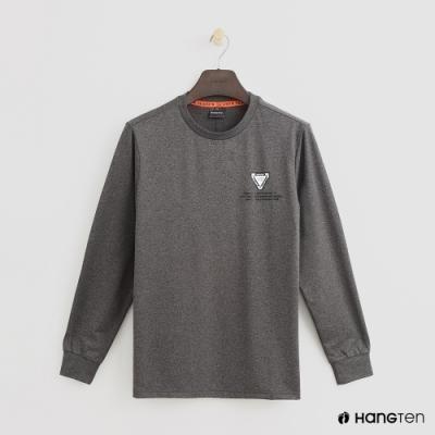 Hang Ten-童裝-簡約素面圓領長袖上衣-深灰
