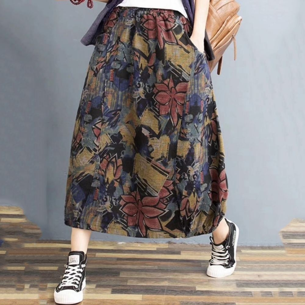 La Belleza民族風文藝復古水彩墨畫印花鬆緊腰側口袋過膝棉麻花苞長裙 product image 1