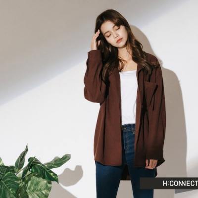 H:CONNECT 韓國品牌 女裝-絨面單口袋襯衫-棕
