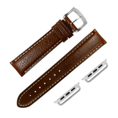 Apple Watch 蘋果手錶替用錶帶 蘋果錶帶 加長牛皮錶帶-咖啡