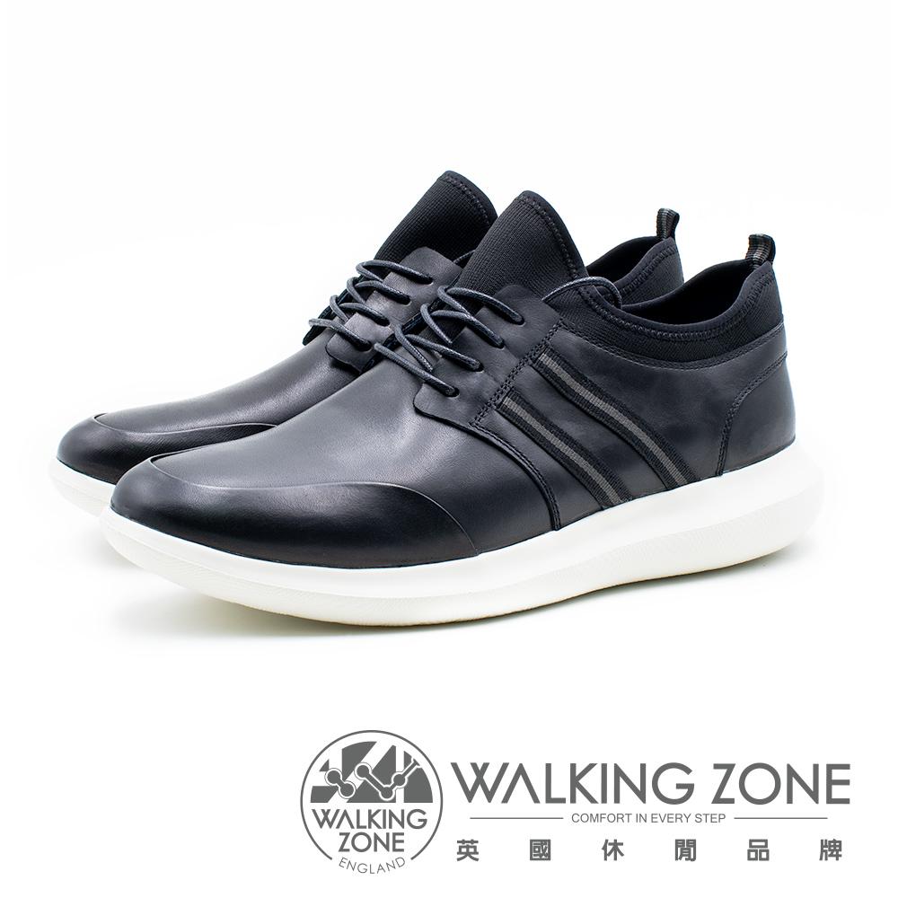 WALKING ZONE 皮革直套運動休閒鞋 男鞋 - 黑(另有藍)