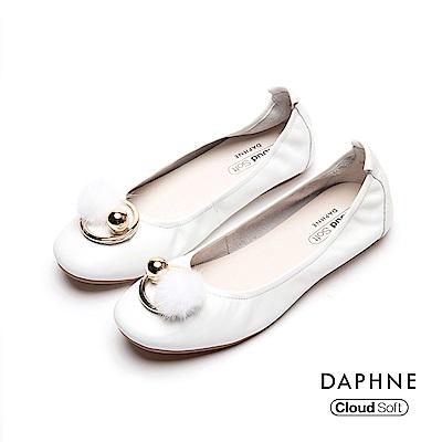 達芙妮DAPHNE 平底鞋-舒軟牛皮甜美娃娃鞋-白