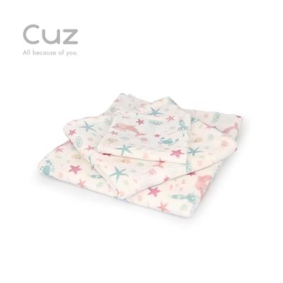 【Cuz】午後海洋(防皺紗布巾/方巾/嬰兒包巾)-90cm