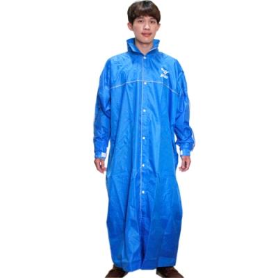 JUMP第二代優雅前開休閒風雨衣-藍色+通用鞋套-快