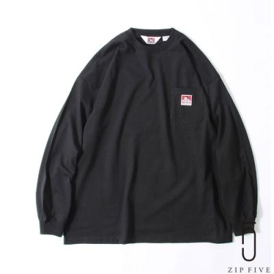 ZIP日本男裝 BEN DAVIS LOGO標章寬版長袖口袋TEE(4色)