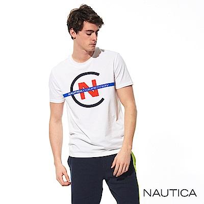 Nautica COMPETITION系列修身彈性短袖T恤-白
