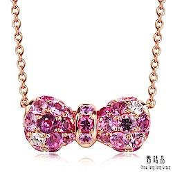 點睛品 完美甜心蝴蝶結18K金鑽石彩色寶石項鍊