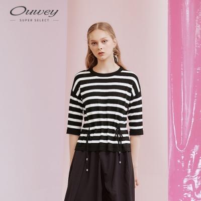 OUWEY歐薇 抽褶綁帶條紋針織上衣(黑)
