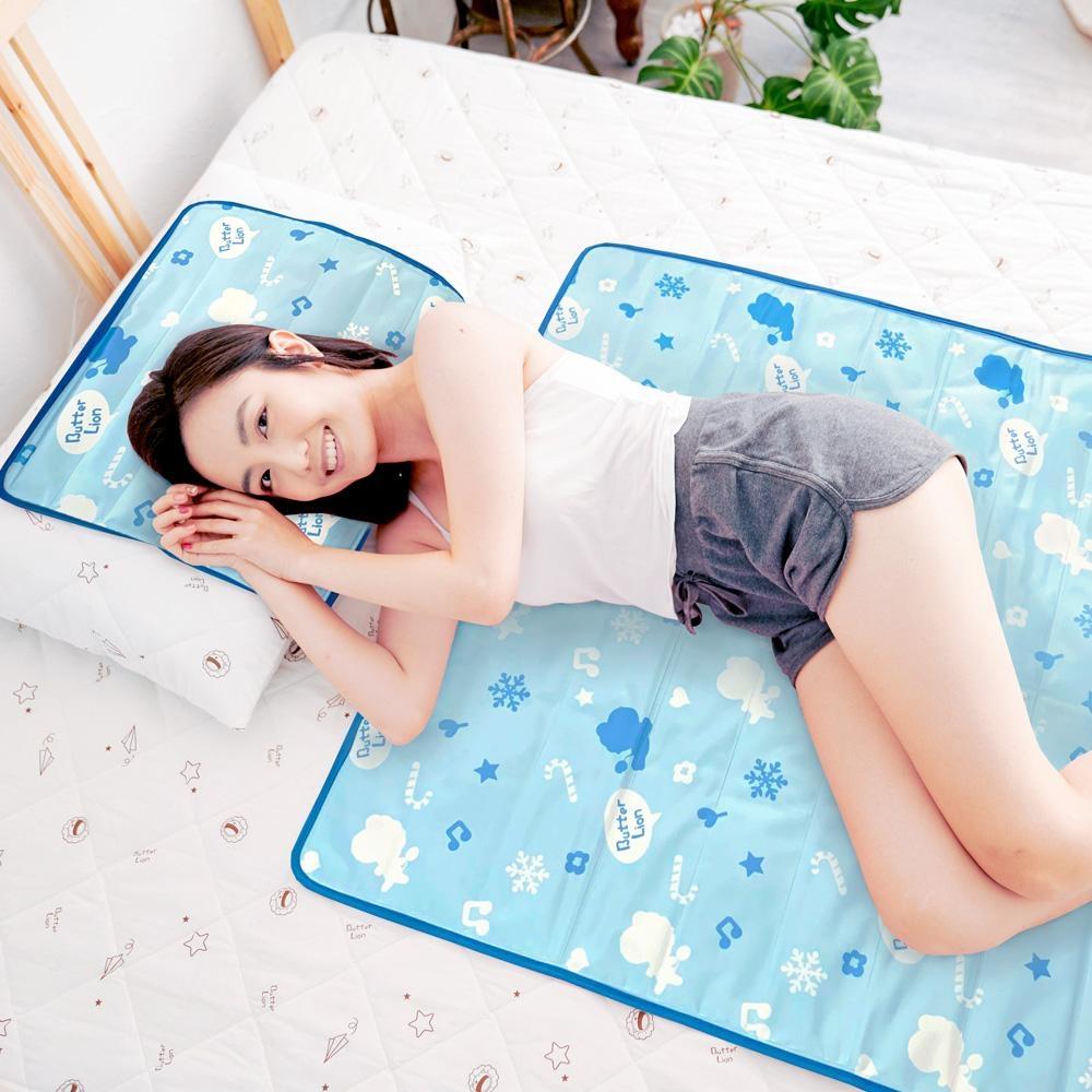 奶油獅-雪花樂園-長效型降6度涼感冰砂冰涼墊/嬰兒床墊/床墊60x90cm-藍色(一入)