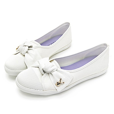 PLAYBOY微甜可愛蝴蝶結亮蔥便鞋-白-Y620511