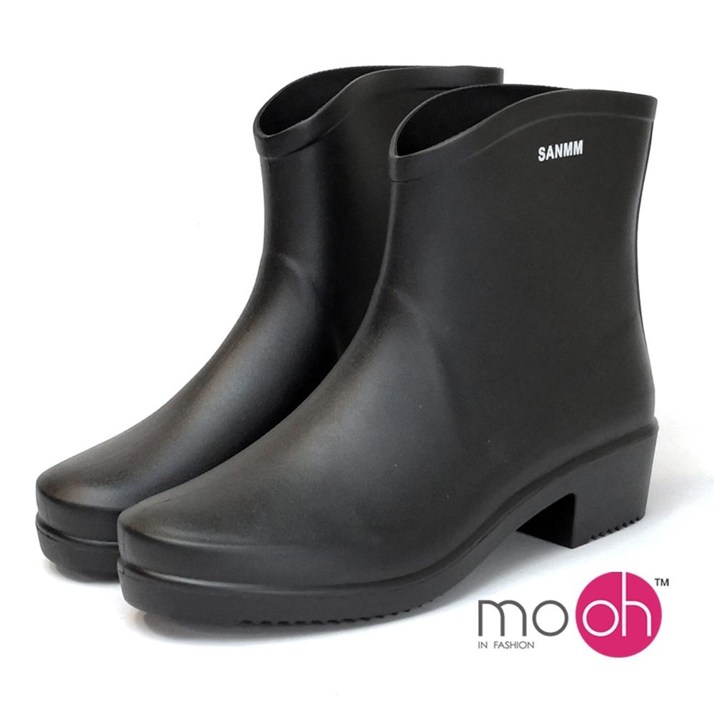 mo.oh愛雨天柔軟粗跟短筒雨鞋黑色