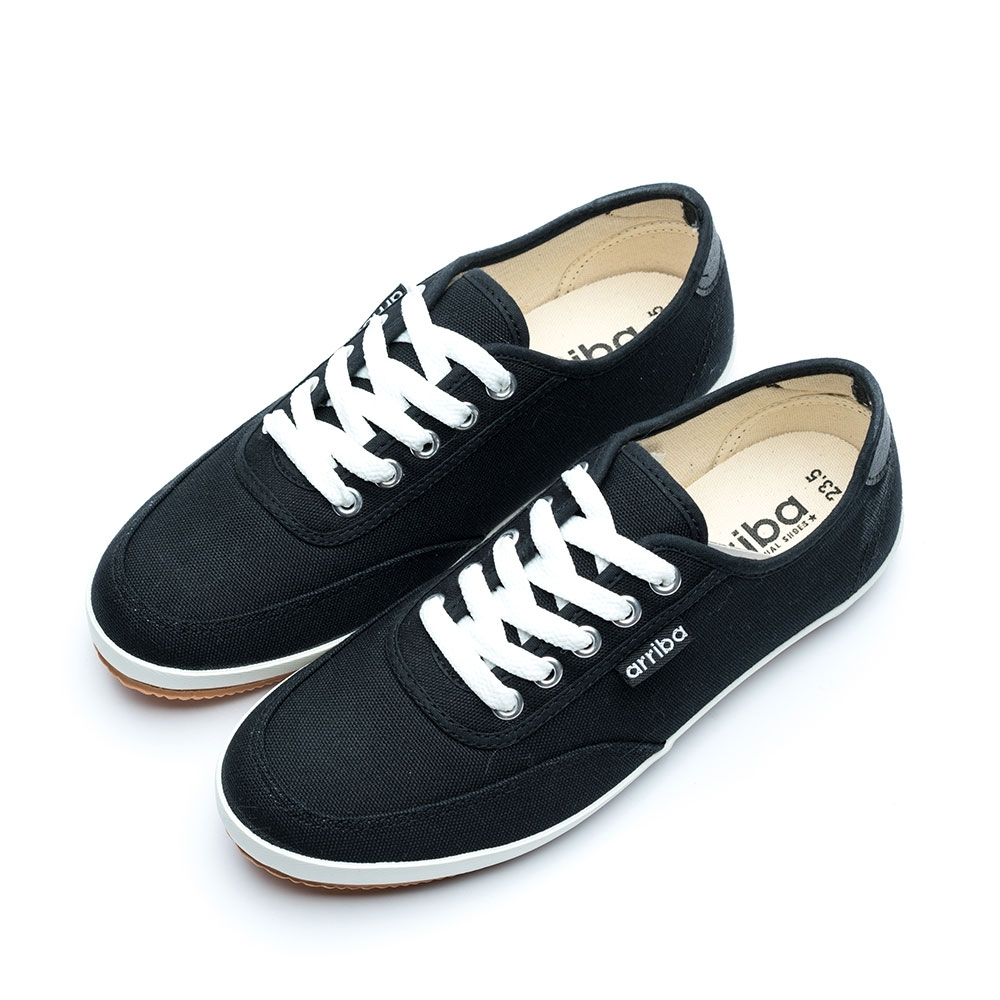 ARRIBA艾樂跑女鞋-帆布休閒鞋 便鞋-白/黑(AB8086)