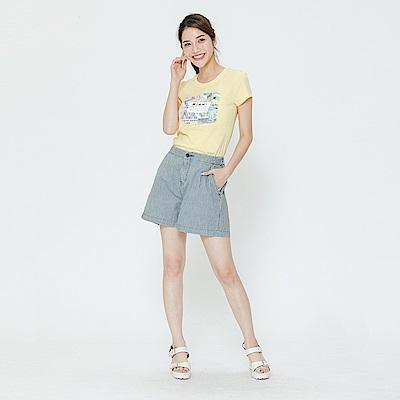 Hang Ten - 女裝 - 單色質感休閒短褲-灰藍色
