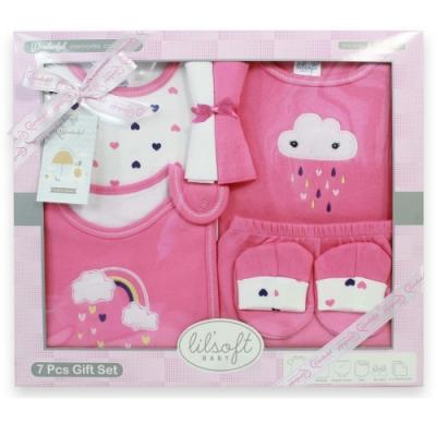 美國Elegant kids-粉色愛心7件式彌月禮盒
