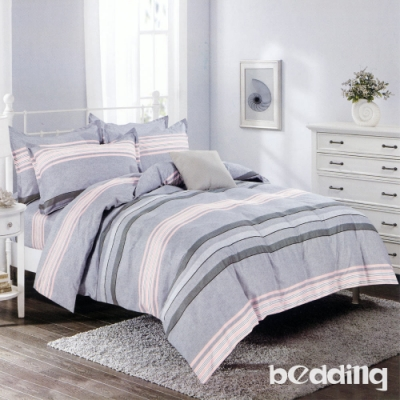 BEDDING-活性印染單人全鋪棉床包兩用被套三件組-起航-灰