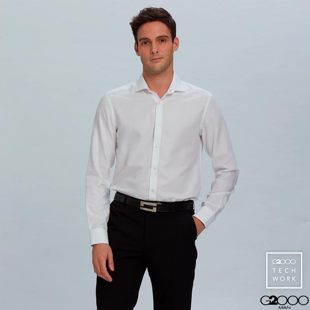 G2000牛津紡長袖上班襯衫-白色