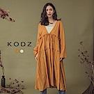東京著衣-KODZ IG歐美爆款大V開襟長版罩衫外套(共二色)