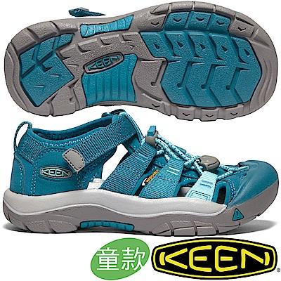 KEEN 1020363綠/湖綠 NewPort H2青少年戶外護趾涼鞋