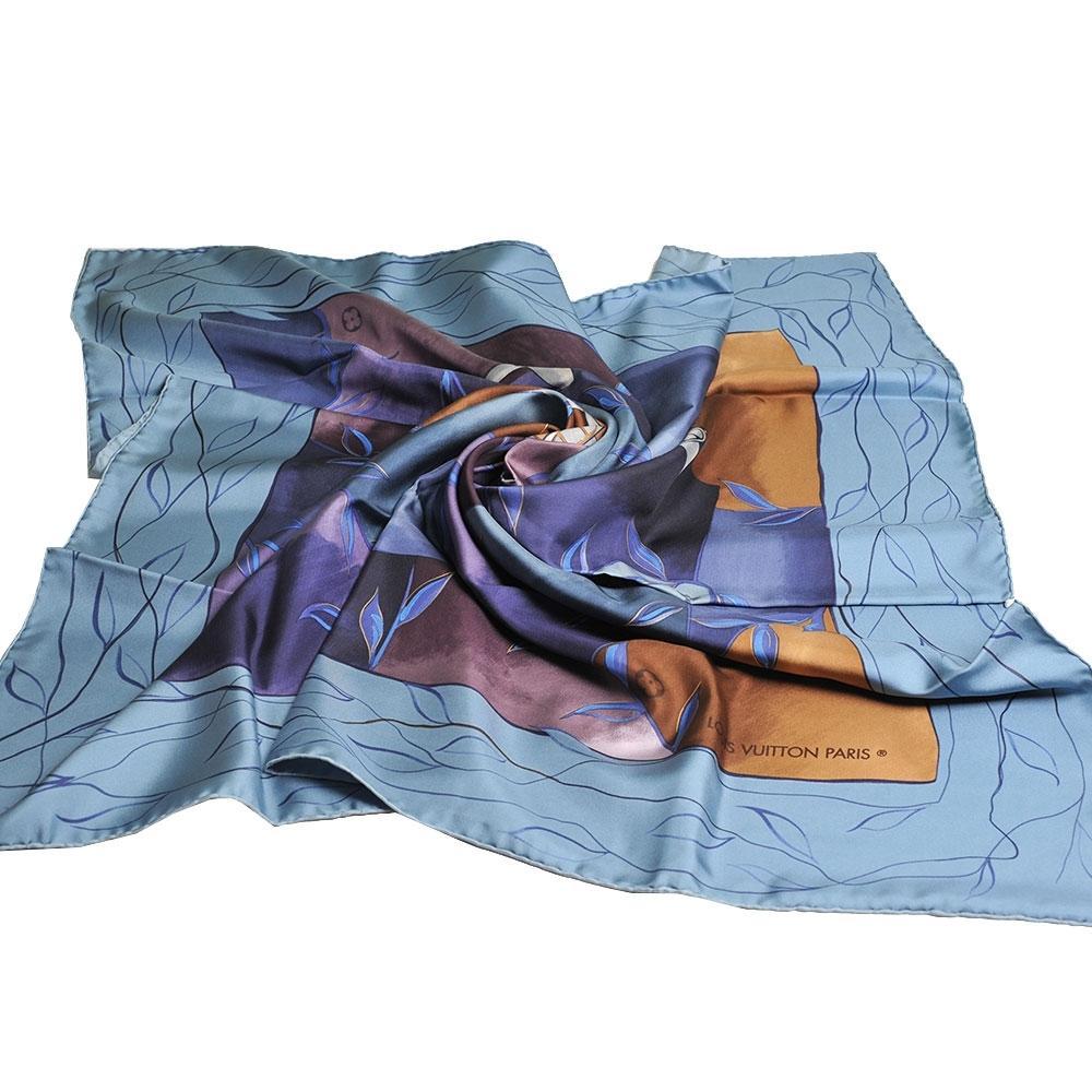 LOUIS VUITTON 義大利製復古飛機印花圖騰100%絲質正方形披肩/絲巾(藍色底/展示品出清)