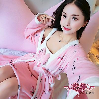 保暖睡袍 甜蜜櫻桃 法蘭絨二件式綁帶睡衣組(粉F) AngelHoney天使霓裳