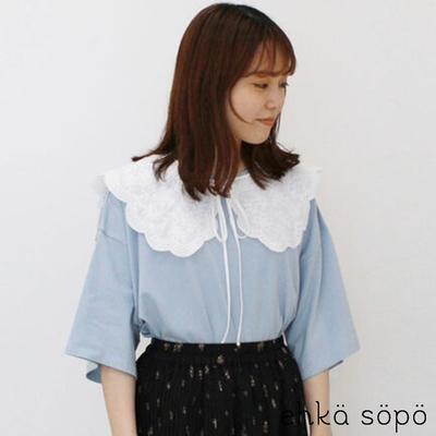 ehka sopo  【SET ITEM】刺繡繫帶蕾絲領+純棉落肩短袖T恤