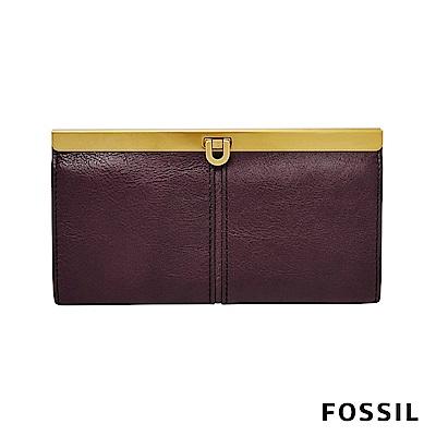 FOSSIL KAYLA 馬蹄型扣式手拿包-暗紅色