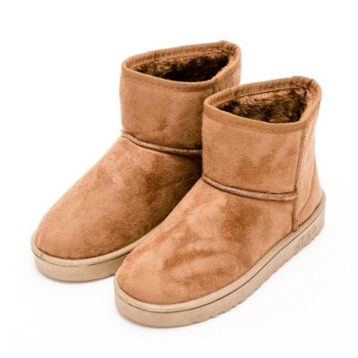 River&Moon雪靴-韓版繽紛細絨內撲毛短雪靴 棕
