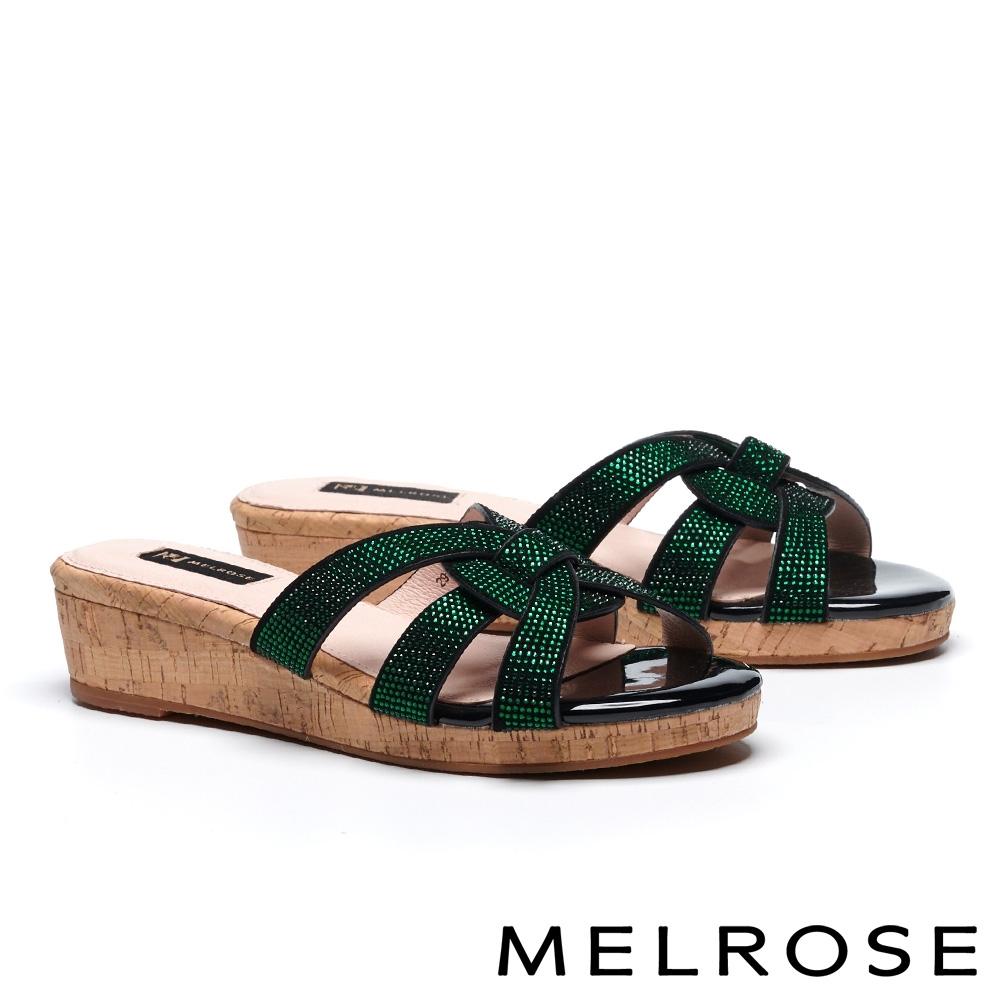 拖鞋 MELROSE 魅力閃耀水鑽羊麂皮楔型低跟拖鞋-黑