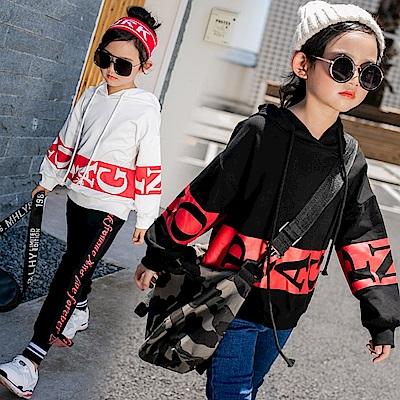 小衣衫童裝 中大童中性款紅底字母印花連帽長袖上衣