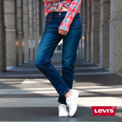 Levis 女款 中腰修身窄管牛仔長褲 深藍刷白 Lyocell天絲棉 彈性布料