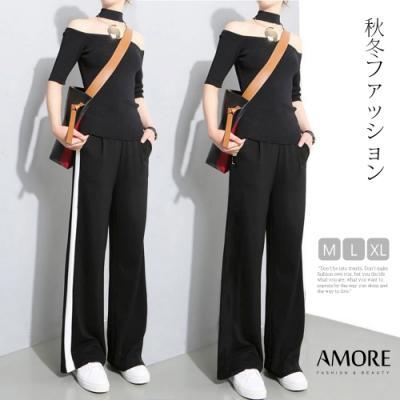 【Amore】韓國超人氣高腰口袋舒適顯瘦寬褲(顯高又顯瘦)