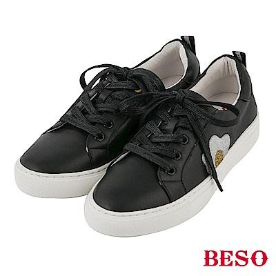 BESO 街頭趣味 立體金蔥荷包蛋休閒鞋~黑