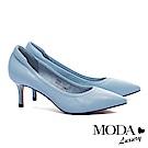 跟鞋 MODA Luxury 極簡純色質感全真皮尖頭高跟鞋-藍