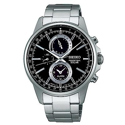 SEIKO SPIRIT簡約率性太陽能計時腕錶/黑面/V198-0AC0D