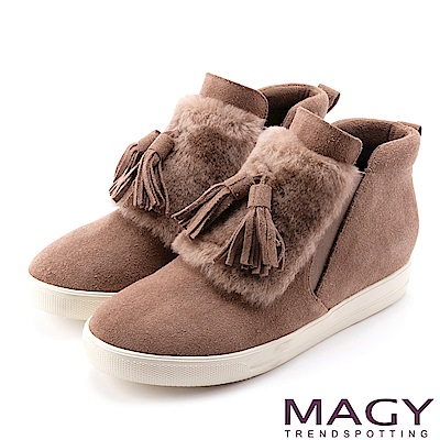 MAGY 街頭時尚 毛海流蘇內增高高筒休閒鞋-可可