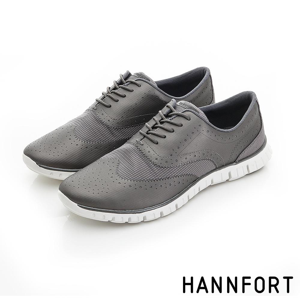 HANNFORT ZERO GRAVITY翼紋雕花牛津氣墊鞋-女-銀鐵灰