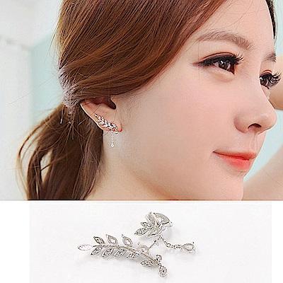 梨花HaNA 韓國浪漫雕花葉片不規則垂綴耳環夾式-玫瑰金色