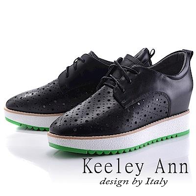 Keeley Ann 街頭潮流~綁帶洞洞設計全真皮內增高休閒鞋(黑色-Ann)
