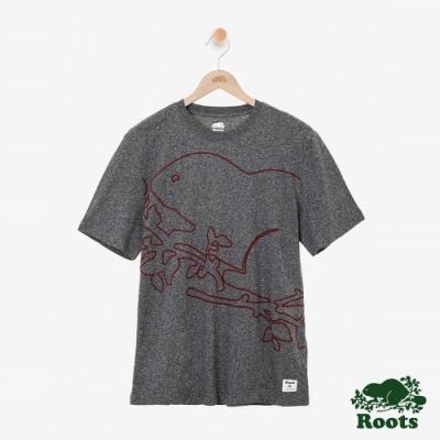 男裝Roots-Script Cooper短袖T恤-灰色