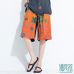 潘克拉 雙色花朵綁帶短褲- 橘