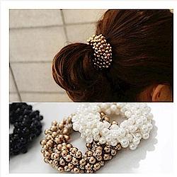 梨花HaNA 韓國柔美線條珍珠圍繞髮圈