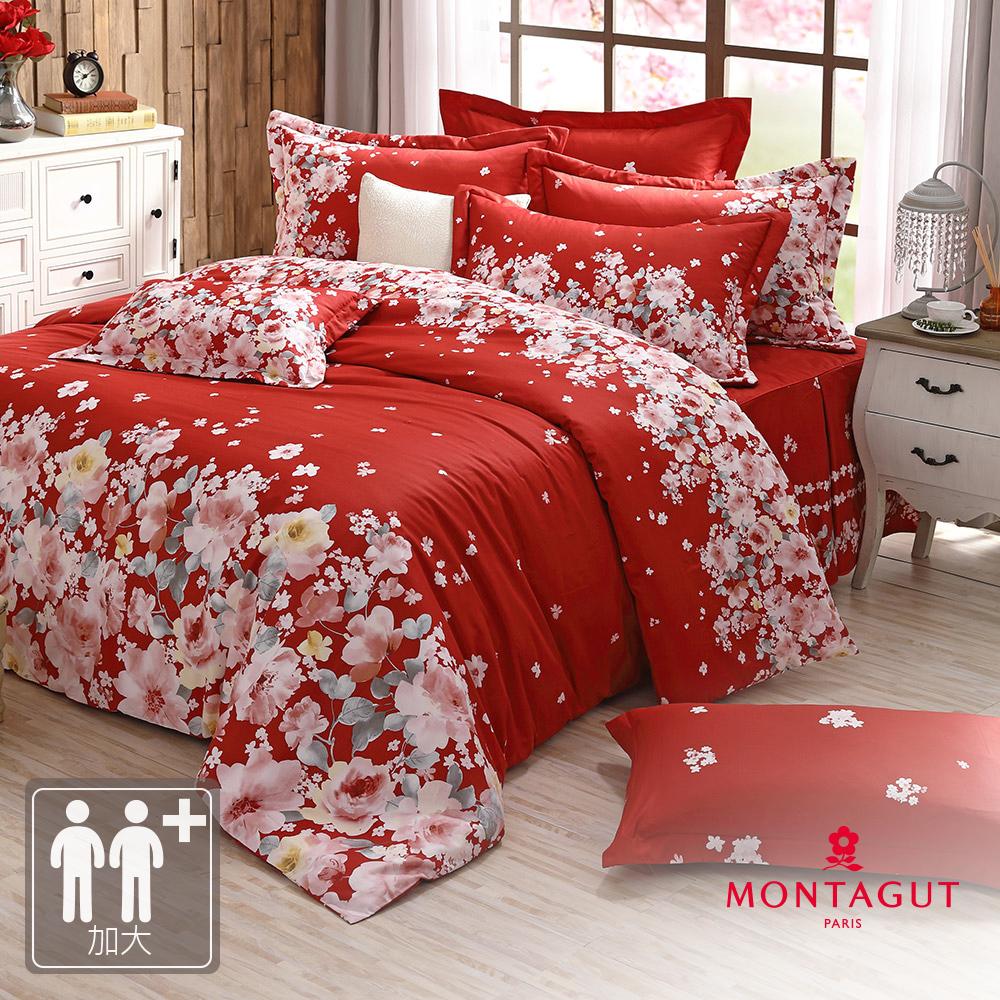 MONTAGUT-絢麗花舞-200織紗精梳棉-鋪棉床罩組(加大)