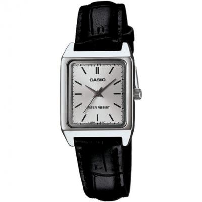 CASIO 素面方形簡約風羅馬指針皮帶腕錶(LTP-V007L-7E1)白/18mm