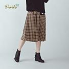 【Dailo】刺繡Q貓英倫風格紋-長裙(二色)