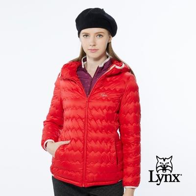 【Lynx Golf】女款防風潑水保暖羽絨波浪紋路隱形拉鍊口袋長袖連帽外套-紅色