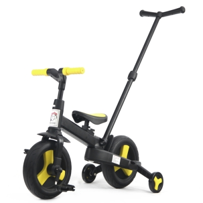 BabyBabe 多功能幼兒腳踏車-附手拉桿(手推車、滑步車)-亮眼黃