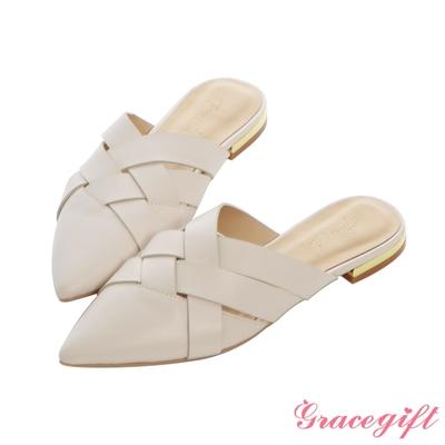 Grace gift X Annie-聯名真皮編織穆勒低跟鞋 奶油米白