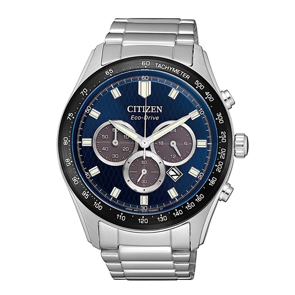 CITIZEN 準確時刻三眼計時光動能腕錶/CA4454-89L